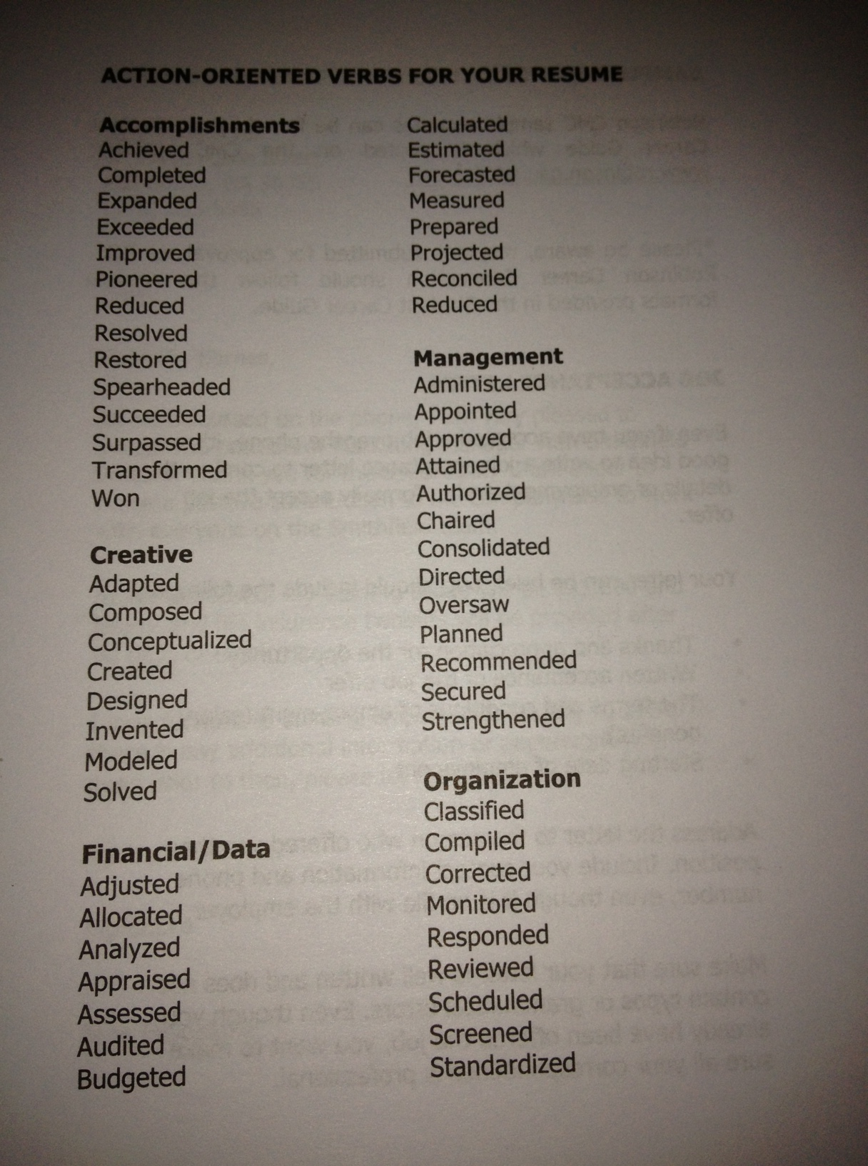 ActionOriented Verbs for Resume