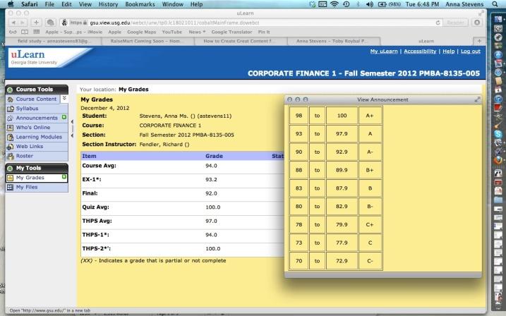 Corporate Finance Final Grades Anna Stevens
