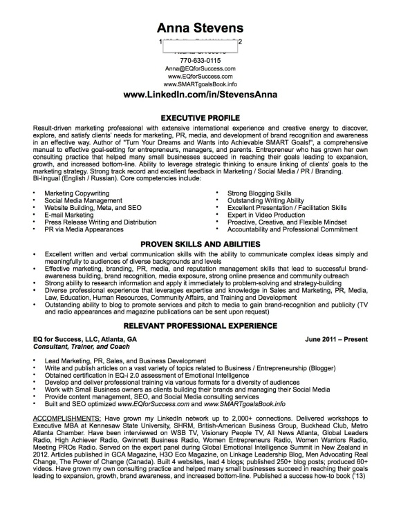 Resume of Anna Stevens, JD, MBA