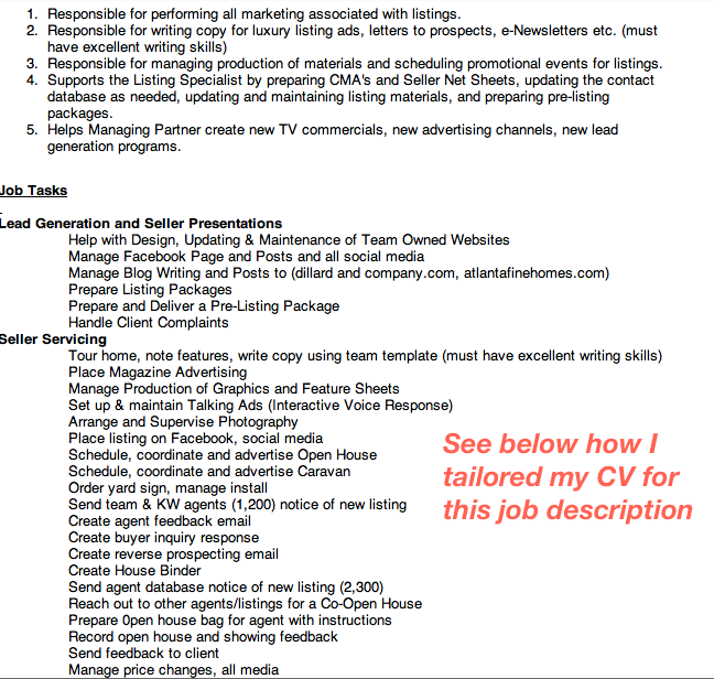 tailored cover letter